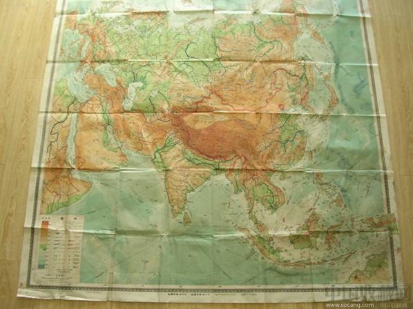 地图收藏--亚洲地形政区挂图 -淘奇锁爱-中国收藏网