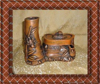 【德宝屋】古玩铜摆件 罕见的竹子知足常乐纯铜笔筒 铜器 -收藏网