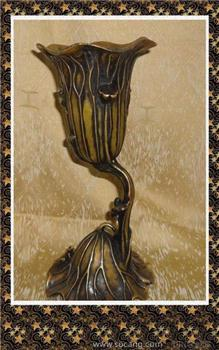 【德宝屋】文房用品 做工精致的黄铜荷叶笔筒 青蛙 荷叶 莲花 -收藏网