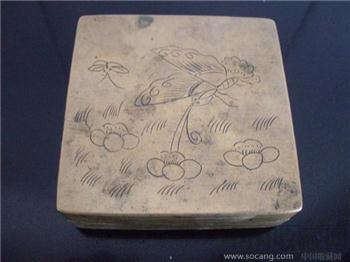 民国花蝶铜墨盒-收藏网