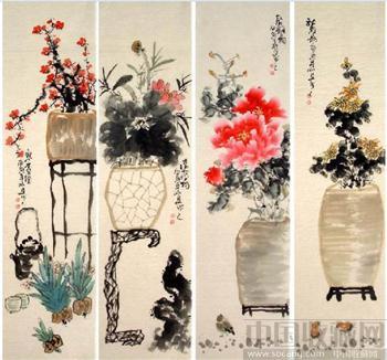 毛照夕·花鸟四条屏09-中国收藏网