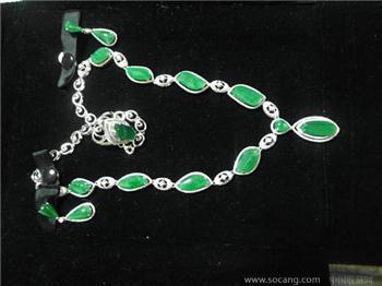 缅甸翡翠 三件套 项链 耳环 戒指-收藏网