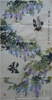 紫藤八哥图-中国收藏网