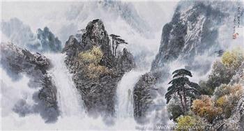 朝鲜画 朝鲜当代名家洪金成    妙香山海来瀑布-收藏网