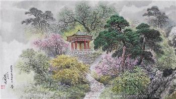 朝鲜画   功勋艺术家   金哲南   木头峰之春 -收藏网