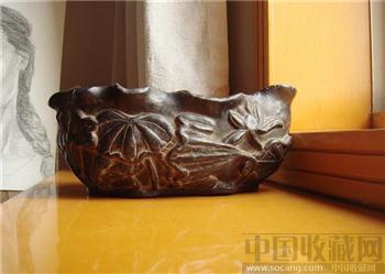 清石雕莲纹笔洗  大气美丽富贵稀少-收藏网