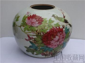 粉彩花鸟罐三个 -收藏网