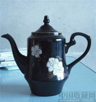 精美的七十年代梅花瓷器 手绘描金 茶壶-收藏网