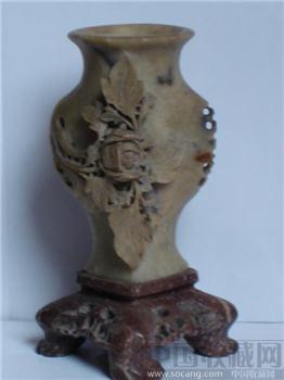 清 寿山石雕月季花花瓶-收藏网