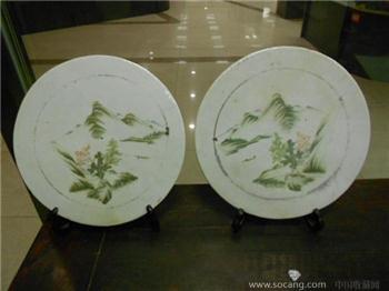 民国浅绛彩瓷板一对-收藏网