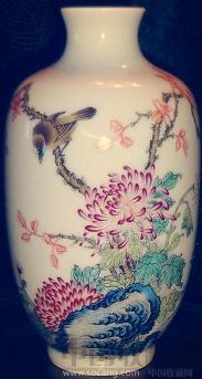 粉彩花鸟瓶-收藏网