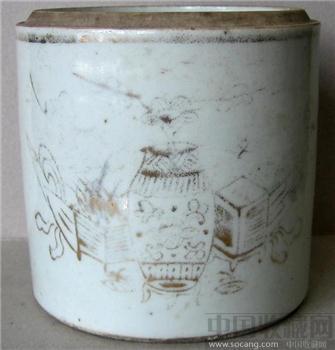 老瓷器古瓷器 白釉金彩博古纹盖筒【大开门文房佳器!题材高雅】-收藏网