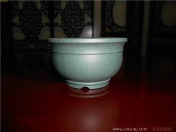 紫砂(绿泥)小盆一件-收藏网
