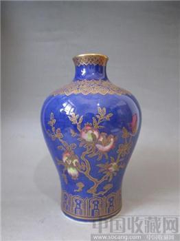蓝釉加彩描金梅瓶-收藏网