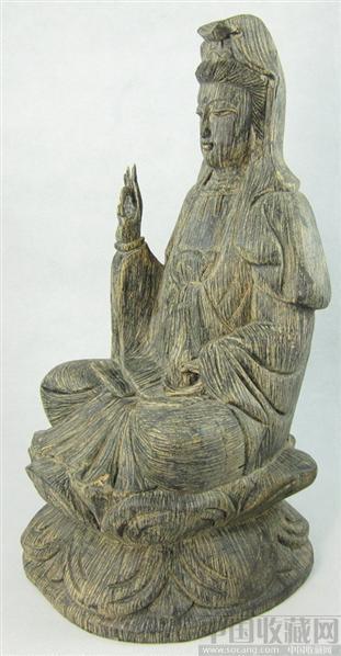 越南沉香木精雕摆件 莲花观音 摆件(土尘)