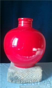 红蓝瓷瓶一对-收藏网