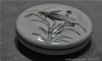哥釉粉彩印泥盒-收藏网