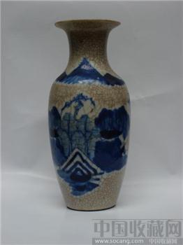 青花碎瓷山水花瓶  《更多藏品请进入我的店铺查看》-收藏网