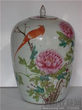 粉彩花鸟冬瓜罐-收藏网