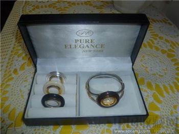 美国纽约产PUREELEGANCEQUARTZ时尚风高档女腕表一盒-收藏网