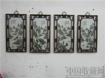 岳父在生的时候收藏的一套汪野亭瓷板画屏风-收藏网