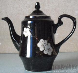精美的七十年代 梅花瓷器 手绘 描金 茶壶-收藏网