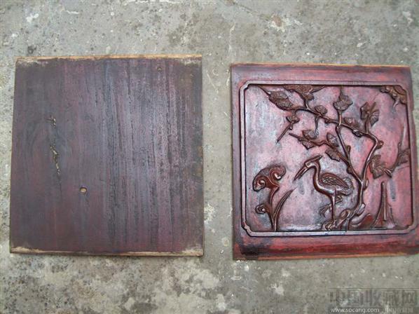 雕花木板:松鹤延年 喜鹊登梅 (清)
