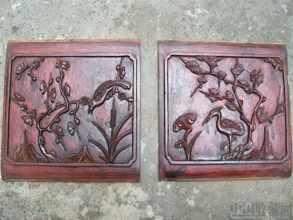 雕花木板:松鹤延年 喜鹊登梅