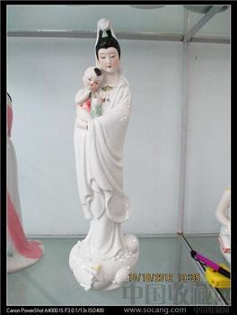 中国陶瓷艺术大师陈钟鸣(已故)八十年代作品《送子观音》潮州老枫溪美术瓷-收藏网