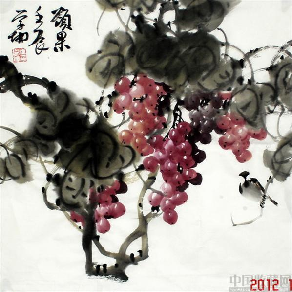 崔学坤国画葡萄小品硕果编号4542