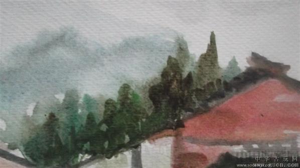 有大师风范的水粉画,小溪边的房子,你可以住进去