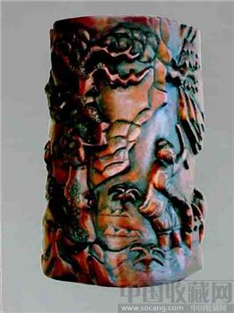 木雕笔筒-收藏网