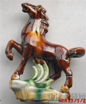 文革时期  五彩  瓷器  马到成功-收藏网