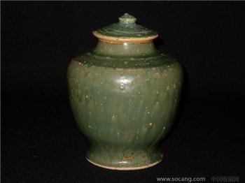 唐代绿釉小盖罐-收藏网