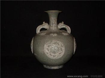 青釉龙耳瓶-收藏网