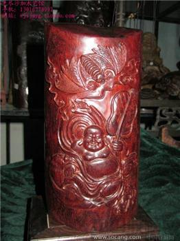 厚重*品相好的印度小叶紫檀整料木雕笔筒/福禄双收-收藏网