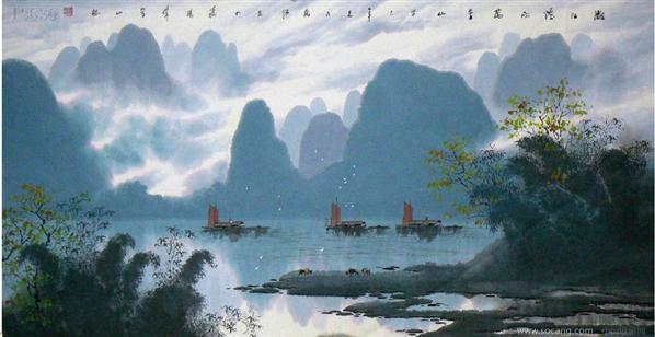 壁纸 风景 国画 山水 桌面 598_308