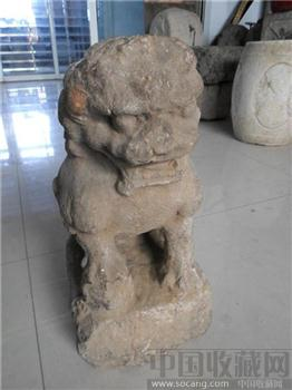 明代鱼子青石雕狮子-收藏网