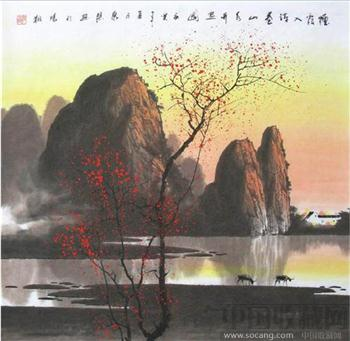 张泉踪·四尺斗方彩墨山水-中国收藏网