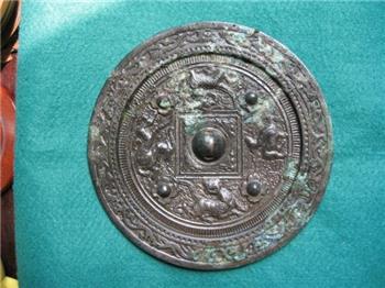 汉代四乳四兽铜镜-收藏网