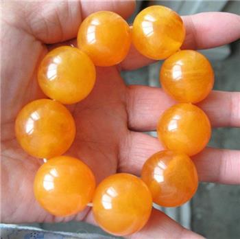 大黄蜜蜡琥珀珠手链 -收藏网