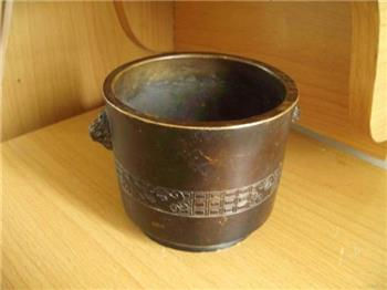 开门螭龙纹兽耳铜炉 -收藏网