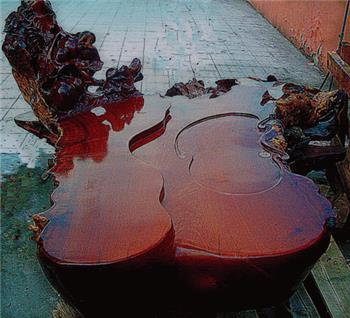 缅甸花梨木根雕茶几-收藏网