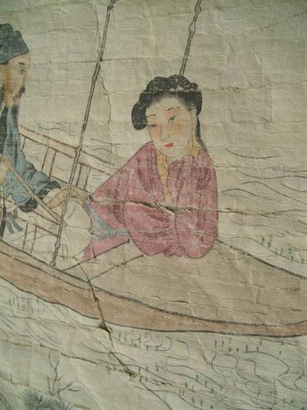 清黄均才子佳人乘船山水画