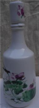 粉彩荷花题词酒瓶 -收藏网