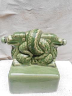 绿色盘龙印瓷酒瓶一个 -收藏网