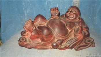 木雕弥勒佛像,不知道什么红木,有裂,包浆自然漂亮 -收藏网