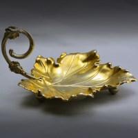 19世纪鎏金叶形果盘