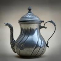 19世纪银锡鹅头嘴咖啡壶