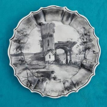 18世纪末19世纪初西洋手绘水墨画瓷盘-中国收藏网